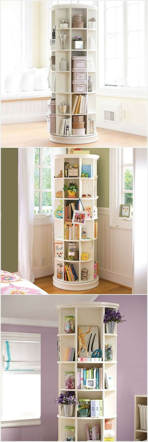 ... revolving bookcase. 10 smart solutions teen bedrooms for small space AVCUGTY