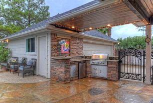 2 tags transitional patio with covered patio, exterior stone floors, gate,  outdoor NXFASUZ