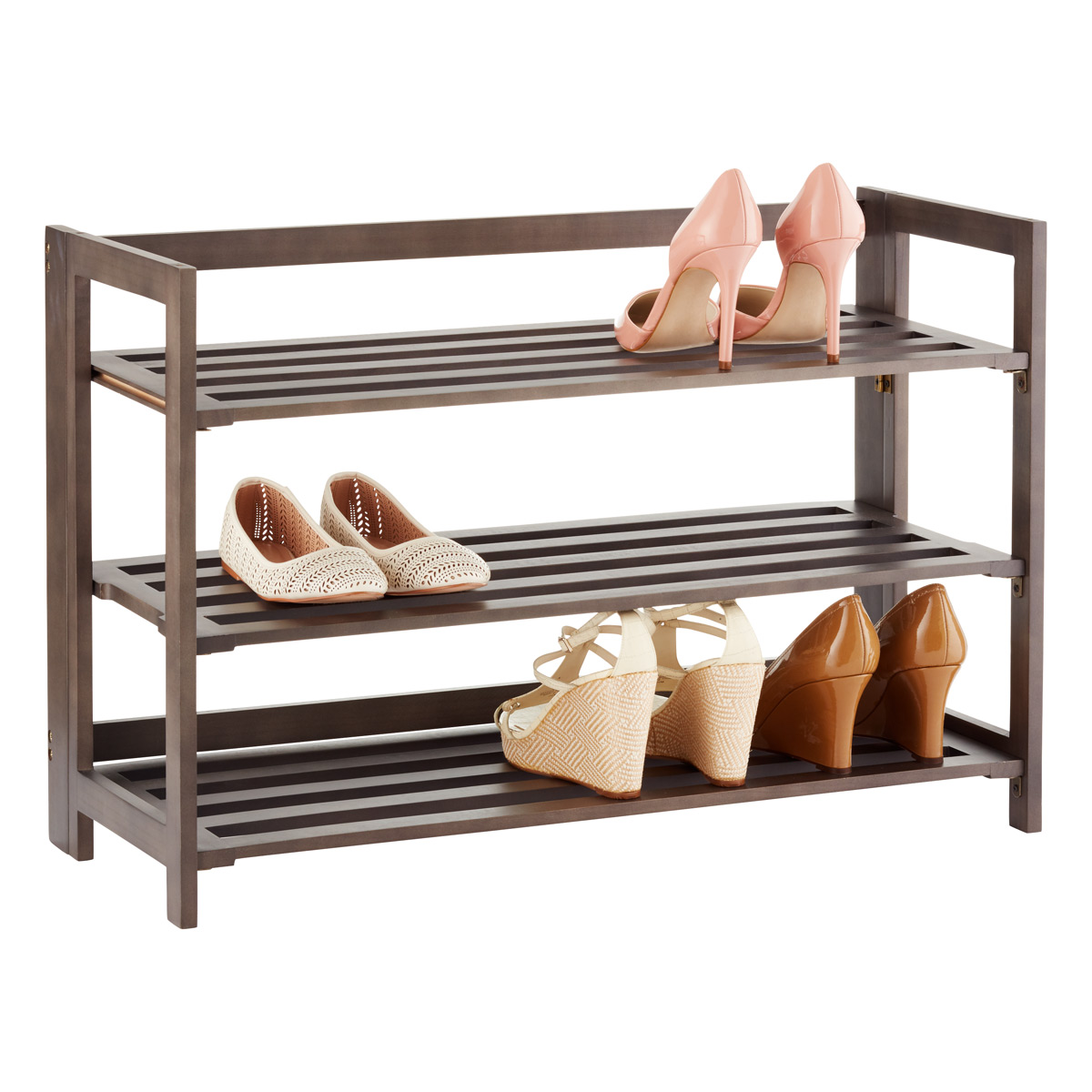 3-tier driftwood folding shoe rack ... OPQNCMU