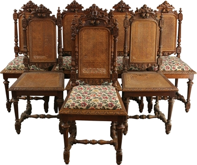 8 antique dining chairs 1880 french hunting style carved oak cane/fabric WTMGDMD