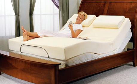 adjustable mattress adjustable bed with a memory foam mattress covered with fabric backed by GEZYUEV