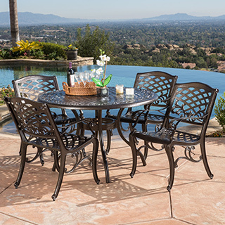 aluminum patio furniture hallandale sarasota cast aluminum bronze 5-piece outdoor dining set by  christopher WYAOLHF
