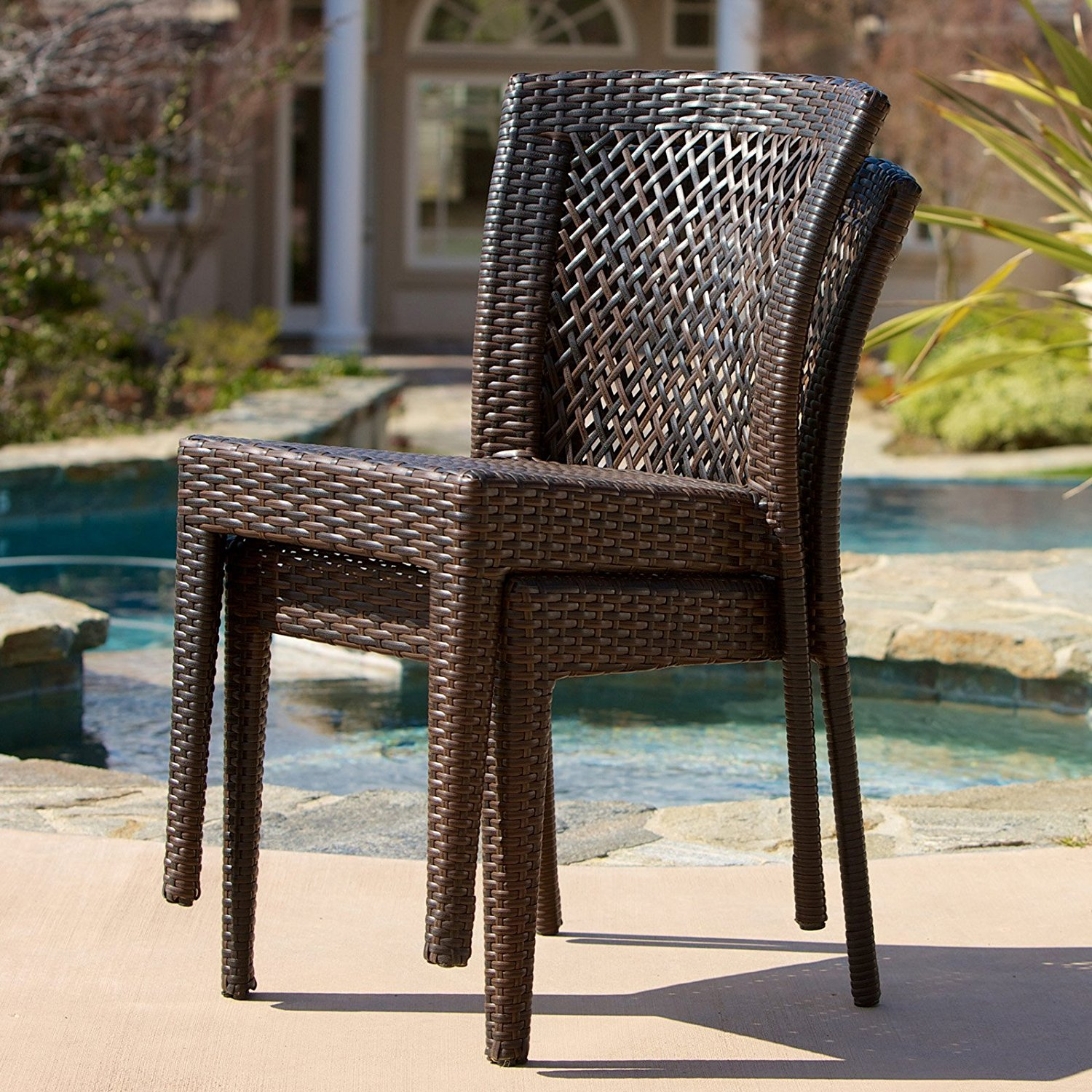 amazon.com : best selling dawn outdoor wicker chairs, set of 2 : patio UOJMCZE