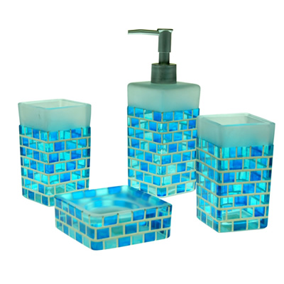 an overview of blue bathroom accessories ZHIBWYL