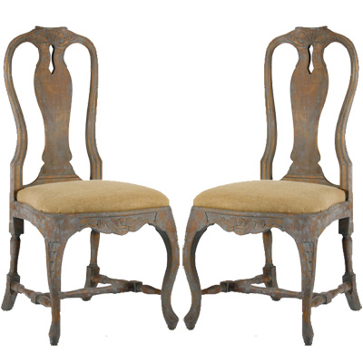 antique dining chairs weathered french blue dining chairs - pair XHLRUCF