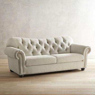 astoria pewter tufted sofa ZUJRHWC