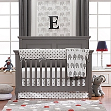 baby bedding image of liz and roo elephants 3-piece crib bedding set in grey HCBJXVN