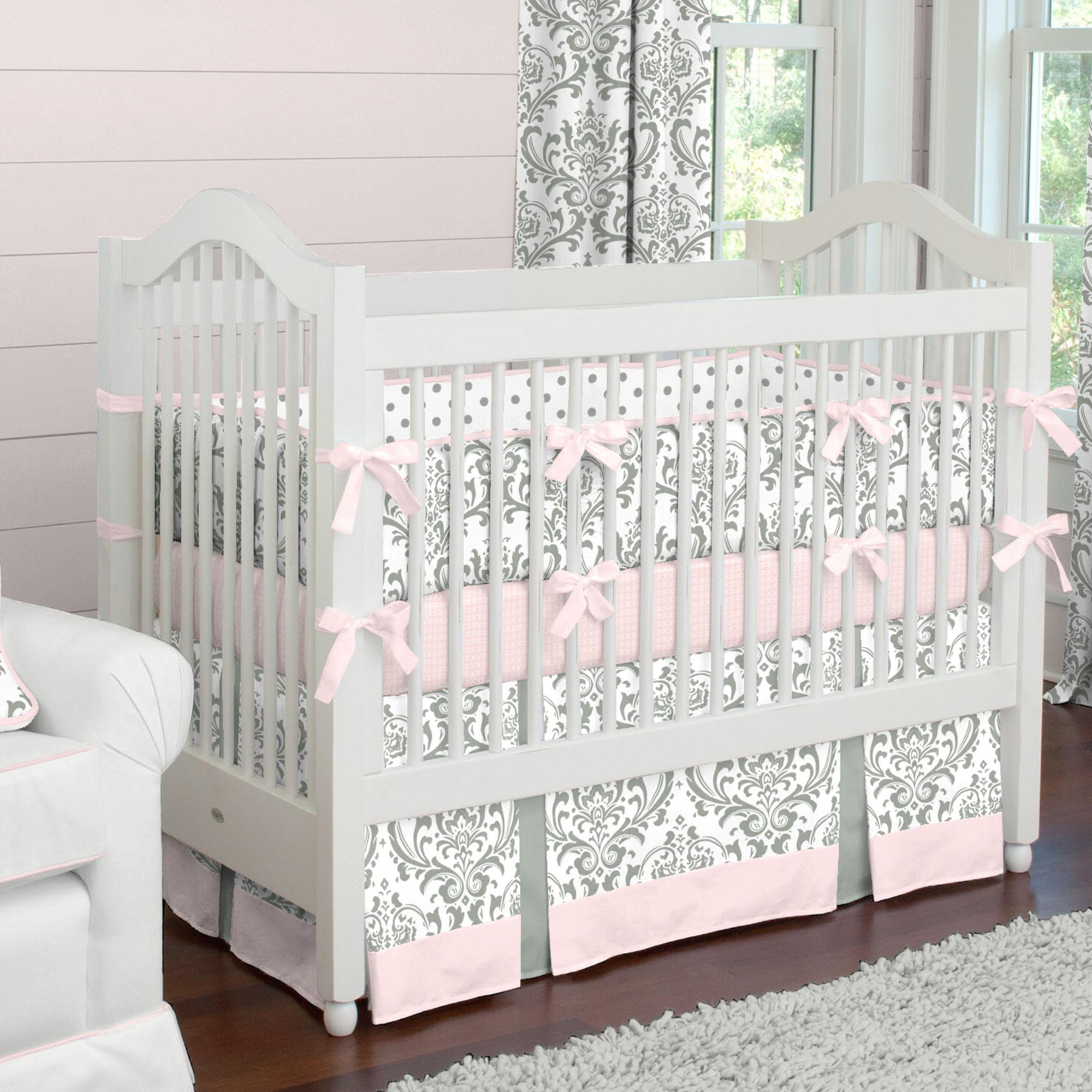 baby bedding pink and gray traditions baby crib bedding UHMKUBJ