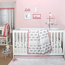 baby girl bedding image of the peanut shell® elephant crib bedding collection in grey VXLBOQR