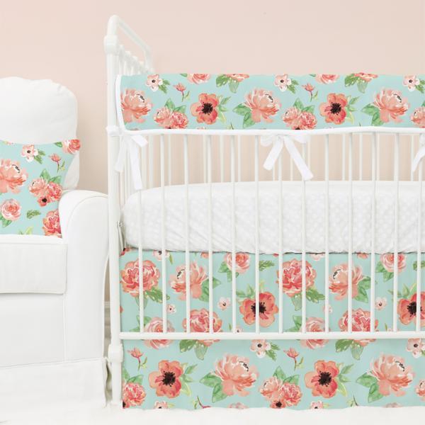 baby girl bedding mint u0026 coral floral baby girl crib bedding collection SIMFKQI
