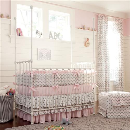 baby girl bedding pink and gray chevron crib bumper AYSWWAD