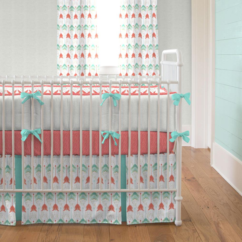 baby girl bedding solid pink crib bedding · coral and teal arrow crib bedding XNQMMDF