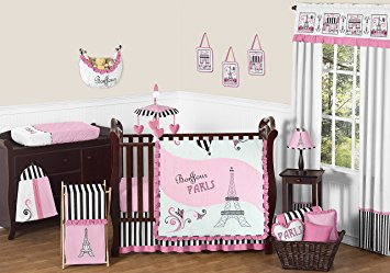 baby girl bedding sweet jojo designs 11-piece pink, black and white stripe paris baby girl ITNQVOX