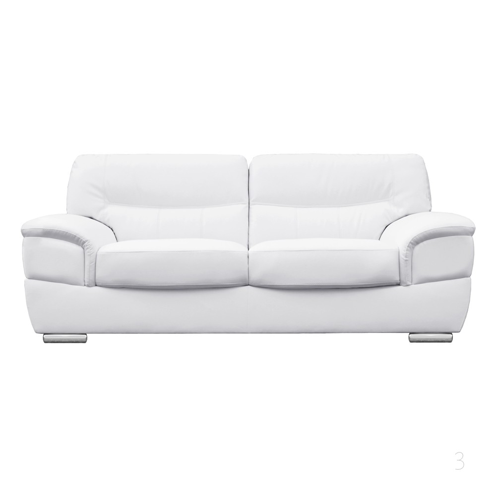 barletta white leather sofa 3 seater KPVUMFD