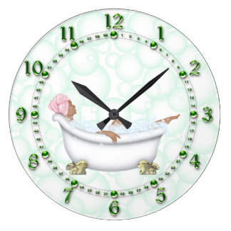 bathroom clocks green bathroom shiny numbers bubbles large clock ESTSORL