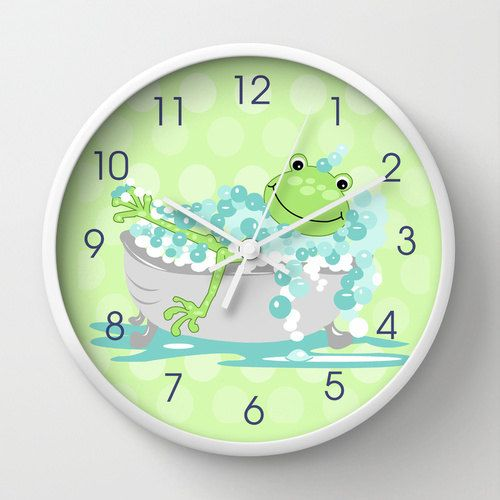 bathroom clocks green frog in tub childu0027s bathroom clock, kids bath decor, 10 DNQDRVJ