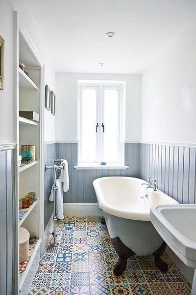 bathroom inspiration apartment renovation bathroom blue wall cladding and moroccan tiles / bathroom AYDFCZM