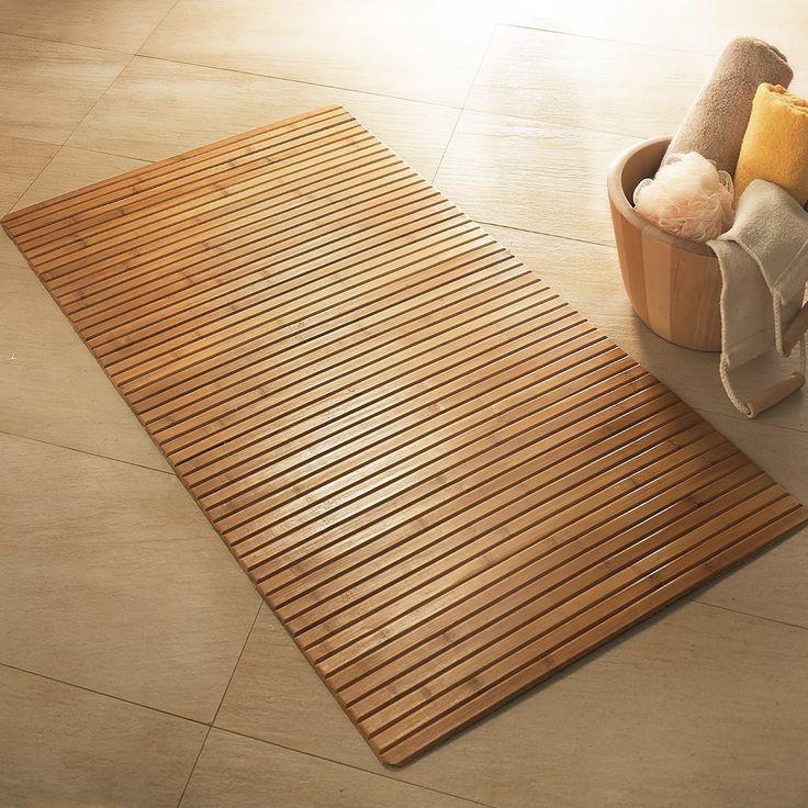 bathroom mat bamboo wooden bath mat JMPVMNX