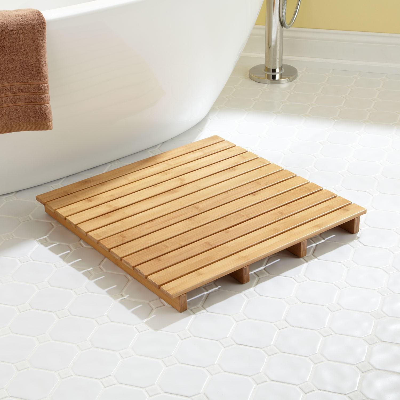 bathroom mats ... small teak bath mat FXNKTEA