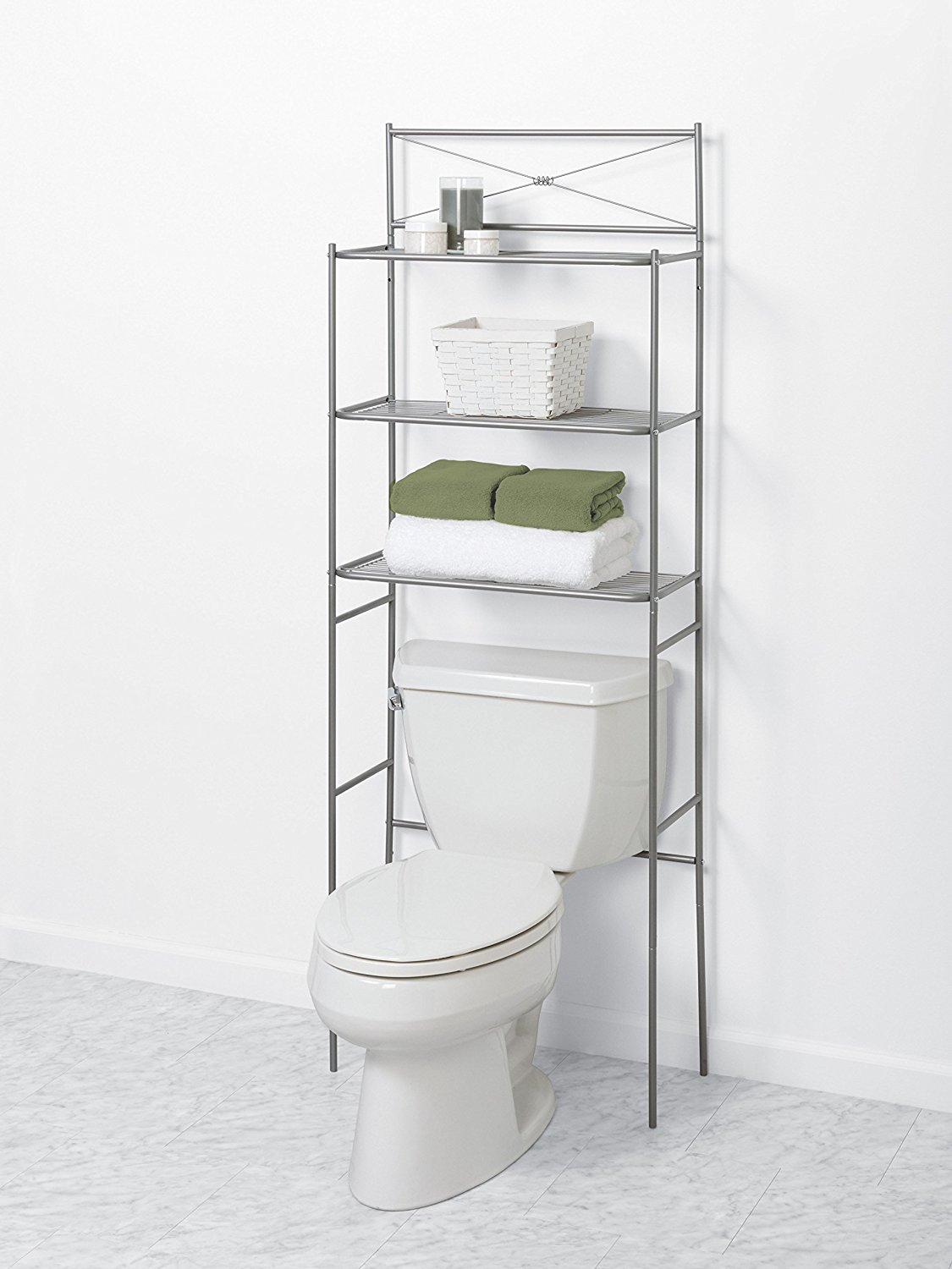 bathroom space saver amazon.com: zenna home 2523nn, cross style bathroom spacesaver, satin  nickel , MTJZOJD