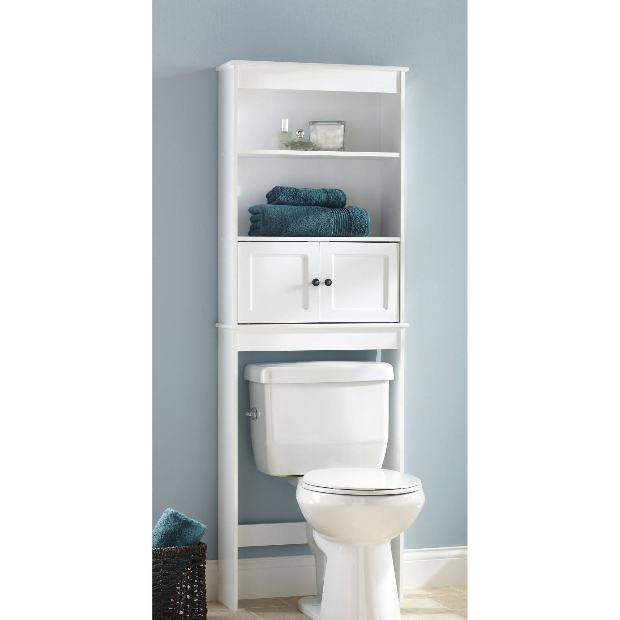 bathroom space saver hawthorne place white wood spacesaver bathroom shelf - walmart.com TSWLREK