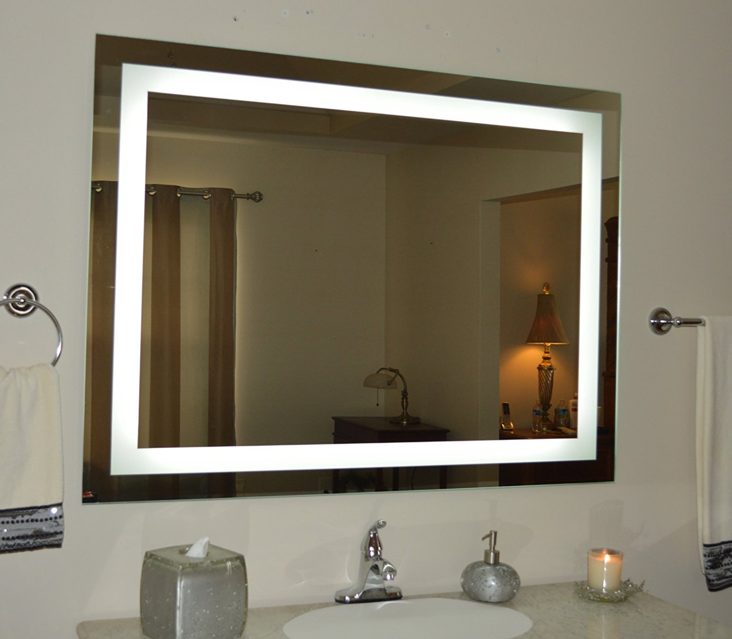 bathroom vanity mirrors with lights amazon.com: wall mounted lighted vanity mirror led mam84836 commercial  grade 48: CMVNXDZ