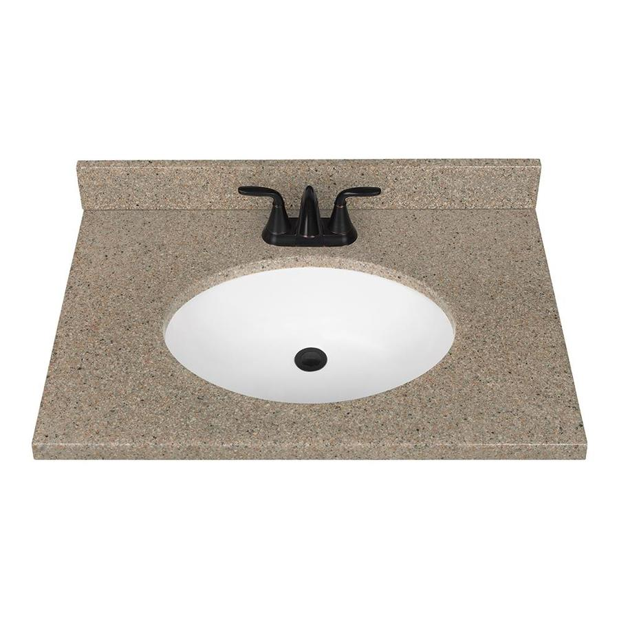 bathroom vanity tops nutmeg solid surface integral bathroom vanity top (common: 31-in x 22- KNYBPHZ