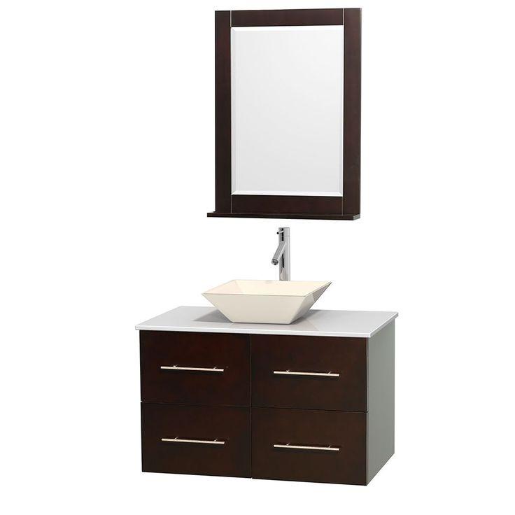 bathroom vanity tops wyndham collection centra 36-inch single bathroom vanity in espresso, w/  mirror KCZFXQD