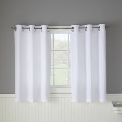 bathroom window curtains hookless® waffle 45-inch window curtain in white TQXQCZJ
