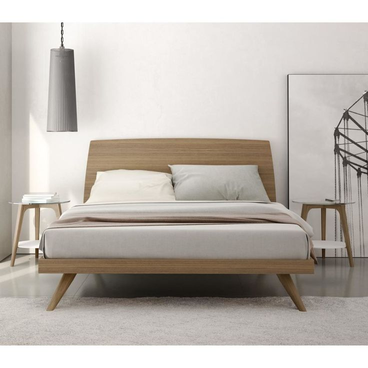 bedframes bedroom. modern mid century natural color walnut king size platform bed. OFTKUCX