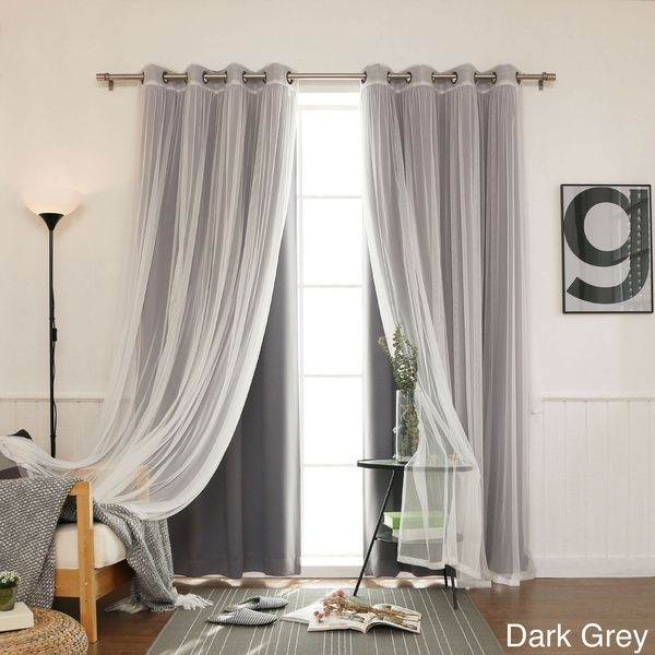 bedroom curtains aurora home mix u0026 match blackout with tulle lace sheer 4-piece bronze KGTDERP