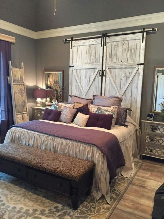 bedroom decorations rustic bedroom -barn door headboard ZBUVJVQ