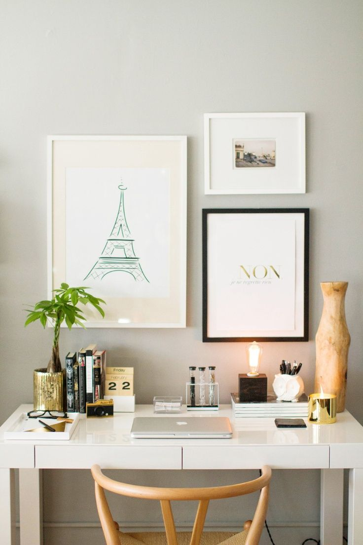 bedroom desk how to style the west elm parsons desk EEIXAJA
