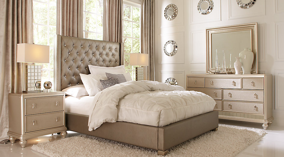 bedroom sets sofia vergara paris silver 5 pc king upholstered bedroom - king bedroom FBDACKG