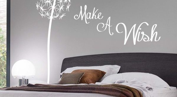 bedroom wall stickers make a wish dandelion quote wall sticker / floral / pretty / FOURXKJ
