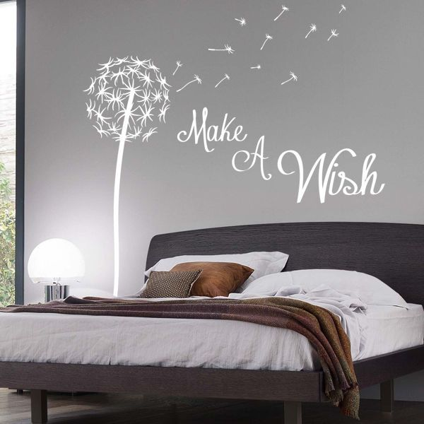 Bedroom wall stickers make a wish dandelion quote wall sticker floral pretty fourxkj