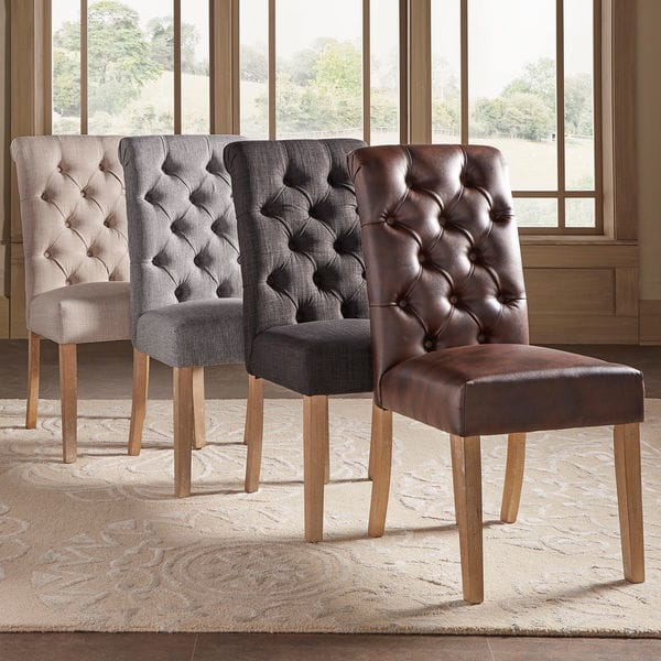benchwright premium tufted rolled back parsons chairs (set of 2) by inspire KNULAPP