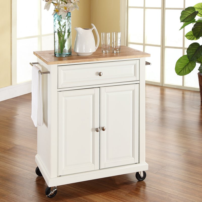 bexton kitchen cart with wood top HCBJCQY