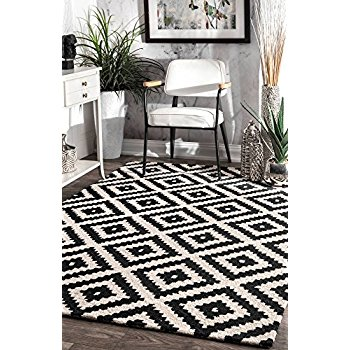 black and white rug nuloom mtvs174a black hand tufted kellee area rug, 5 x 8, ... MMTFHJO