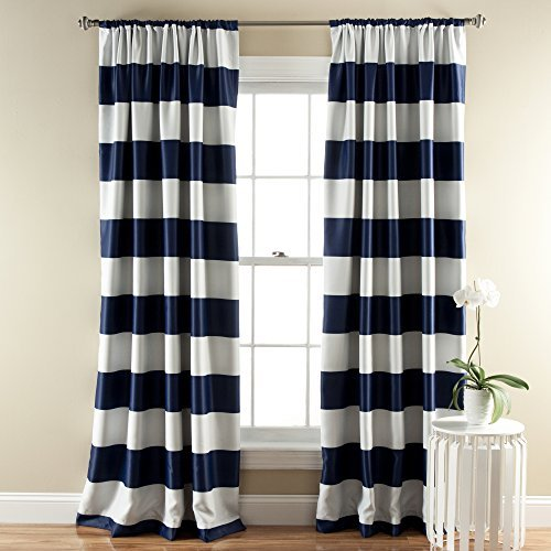 black and white striped curtains lush décor stripe room darkening window curtain panel, 84 inch by 52 BRDDGFG