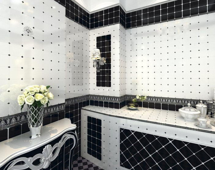 black and white tiles for bathroom renovation BTLYHRL