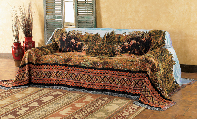 black bear family mountain sofa cover FGAUCEJ
