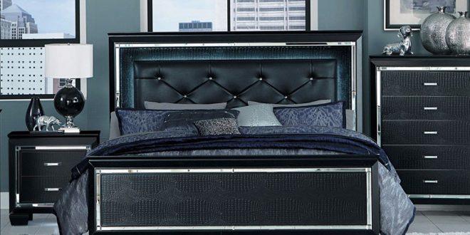 black bedroom sets allura - black bedroom set, bedroom set - adams furniture ... SVODFKL