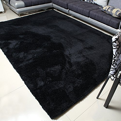 black carpet mbigm super soft modern area rugs, living room carpet bedroom rug, nursery SMGVYKE