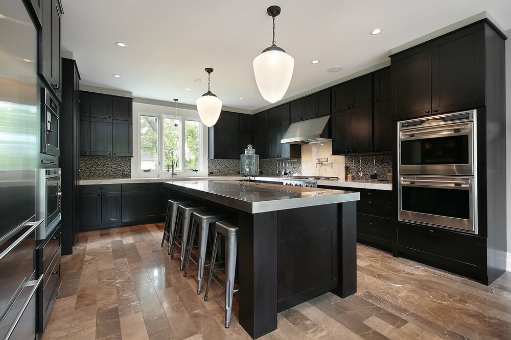 black kitchen cabinets black modern kitchen cabinets with stainless steel accent HASNAFA
