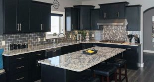 black kitchen cabinets contemporary kitchen with black cabinets, island and giallo verona granite  counters ZNWVBRG