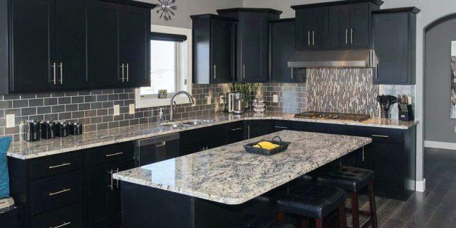 black kitchen cabinets contemporary kitchen with black cabinets, island and giallo verona granite  counters ZNWVBRG