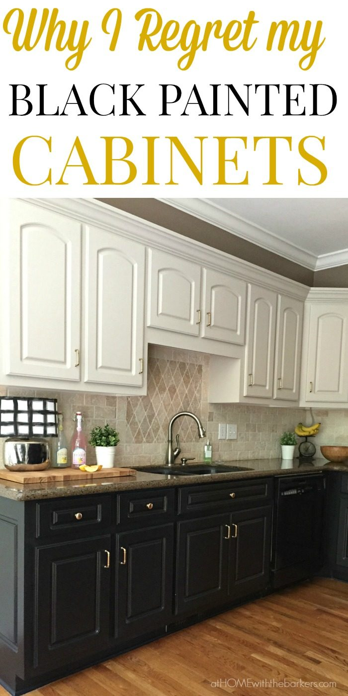 black kitchen cabinets find out why i regret painting all my lower kitchen cabinets black. click PMEXVJS