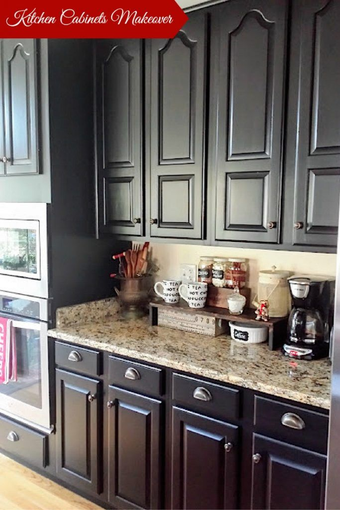 Black Kitchen Cabinets Painted Kitchen Cabinets With General Finishes Lamp  Black Milk Paint And D.