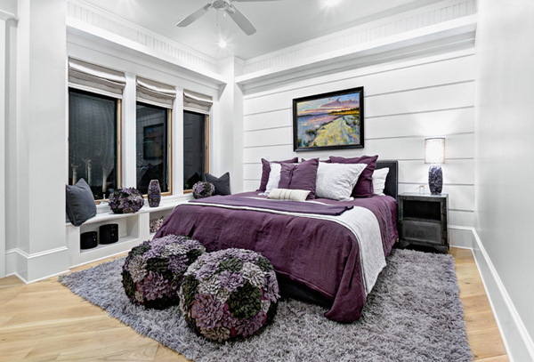 black, white and purple bedrooms UPLHRHK